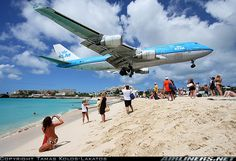 KLM 747 buzzing Maho Beach while landing at Princess Juliana International Airport, St. Maarten