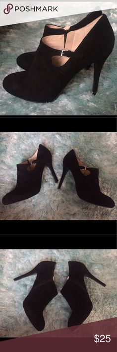 Nine West, Black, Suede Booties Black Suede/Leather, Size 10. Never been worn. Fit true to size. Nine West Shoes Ankle Boots & Booties