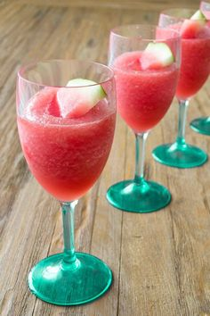 There's nothing quite like watermelon on a sunny day. That's why I love to sip on this watermelon slushie all summer long. It's cold, slightly sweet, fresh, and you can switch it up with a lot of different fun flavors, or even make it into a cocktail too! Easy Cocktails, Cocktail Drinks, Alcoholic Drinks, Frozen Drink Recipes, Frozen Drinks, Yummy Drinks, Delicious Desserts, Watermelon Slushie, Wine Slush