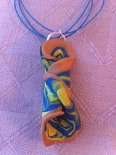 """Yellow/Turquoise/Tan/Green 1""""x3"""" Necklace 18"""". $8.00, via Etsy."""