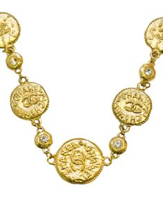 Chanel Gold Coin Necklace w Rhinestones