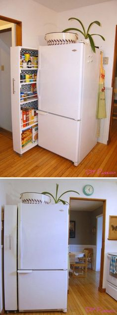 Small Space Storage Solution: DIY Rolling Pantry Tutorial. Another ingenious way to save the space in the kitchen with this DIY rolling pantry!