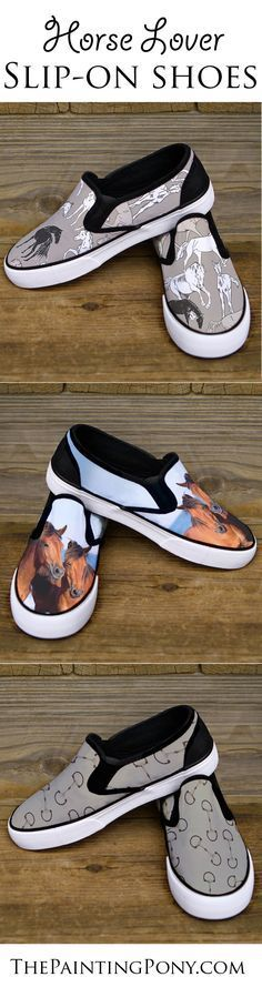 Horse lover SHOES - equestrian themed slip on shoes perfect for anyone who loves horses and ponies from hunter jumper, dressage, equitation, and rodeo cowgirl barrel racing horseback riding.
