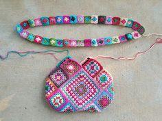 flamingo inspired granny square crochet bag, crochetbug, fabric lined crochet purse, granny square purse