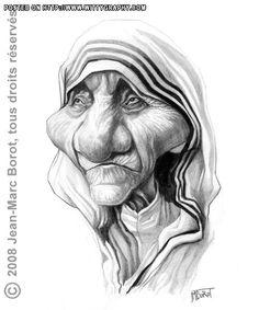 Mother Teresa, illustration of jmborot (Jean-Marc Borot) at wittygraphy