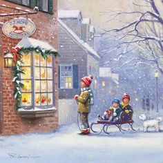"A Christmas Wish by Paul Landry OPEN EDITION CANVAS Image size: 10""w x 10""h."