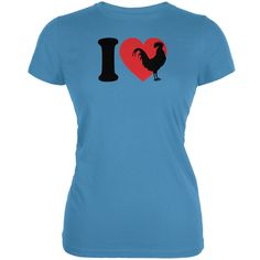 I Heart Love Roosters Aqua Juniors Soft T-Shirt | AnimalWorld.com