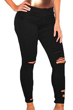 Sidefeel Women Casual Denim Destroyed Stretchy Ripped Skinny Jeans - Jeans are a staple in every chick's closet,wholesale Denim Destroyed Ankle Length Skinny Jeans is perfect for pairing with your favorite top. New Style Tops, Flannel Lined Jeans, Destroyed Jeans, Ripped Skinny Jeans, Trendy Tops, Black Skinnies, Black Denim, Ankle Length, Women's Jeans