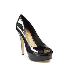 Miss S - Ruby Black Patent Peep Toe Heels by Miss S Online