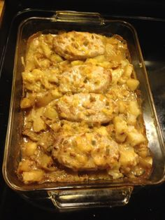 Ingredients: 4 boneless Pork chops 4 thinly sliced medium potatoes 1 envelope Lipton onion soup mix 1 can cream of mushroom 1/4 cup milk Salt and pepper to taste Instructions: Brown pork chops in 1/4 cup oil then drain. Slice potatoes into a medium casserole dish in even layer. Place pork chops over potatoes, combine onion soup mix and cream of mushroom and milk, pour over top of pork chops. Bake at 350 for 1 hour.