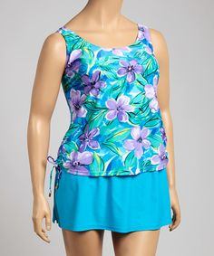 Look what I found on #zulily! Blue & Purple Sun Kissed Tankini - Plus #zulilyfinds