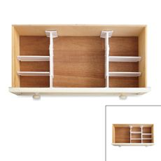 Real Simple 6-Piece Adjustable Drawer Organizer - Bed Bath & Beyond. Wes uses these in his sock and t-shirt drawers. They'll work on little baby stuff, too.