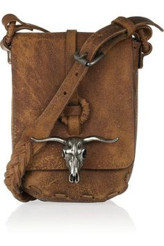 Western leather handbag with longhorn. (would be a great weapon in self defense. Just saying, but it really would be)
