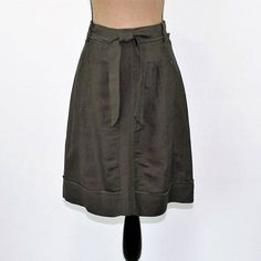 Olive Green Skirt Womens Skirts Midi A Line Casual Linen Rayon