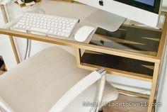VITTSJÖ Laptop table, white, glass