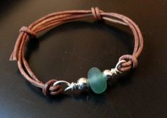Sea Glass Bracelet, Sea Glass Jewelry, Sterling Silver, Green, Natural Leather Cord, Adjustable, Sea Glass