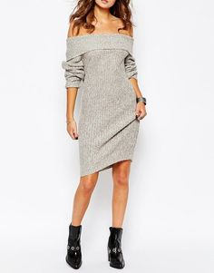 29479c04734 Would be Great with the Right Accessories! Sexy Low-Cut Off-The-Shoulder  Solid Color Long Sleeve Sweater Dress For Women