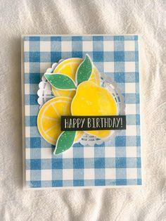 Card lemon lemons, citrus, SU Stampin Up Lemon Zest Food Cards, Lemon Blossoms, Fruit Stands, Lemon Slice, Stamping Up Cards, Craft Sale, Recipe Cards, Cute Cards, Cardmaking