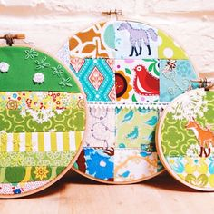 Some of my first patchwork themed hoops from about 2 years ago. I still love these!