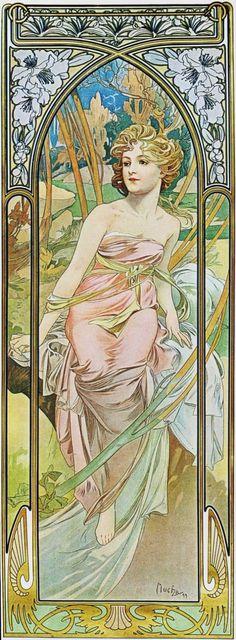 """Alfons Mucha. """"Éveil du matin"""", de la serie """"Les Heures du jour"""", 1899."""