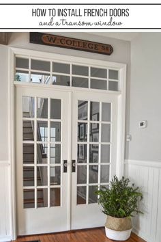How to Install French Doors with a Transom Window [Part Hallway Makeover] For the first step of our downstairs hallway makeover, we totally transformed it by widening the doorway and installing a set of antique French doors with a DIY transom window ab Antique French Doors, French Doors Patio, Patio Doors, French Windows, Installing French Doors, Window Parts, Transom Windows, Old Doors, Interior Barn Doors