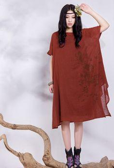 Loose Tunic Dress, Linen Shirt Dress, Long linen Dress, Sundress, Casual Smart, Red Dress