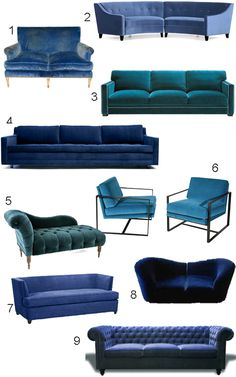 Get the Look: 34 Blue Velvet Sofas | | style carrot |