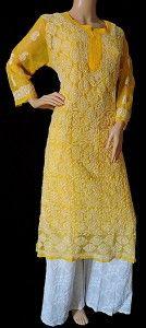 ISHIEQA's Hand Embroidered Yellow Georgette Chikankari Kurti – DC1201B