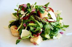 Arugula, Roasted Asparagus and Pea Shoot Salad with Croutons.