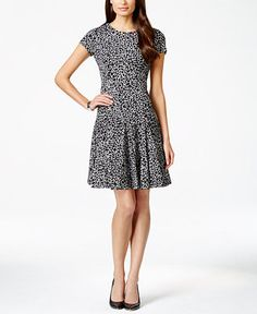 Calvin Klein Womens Printed Cap Sleeves Wear to Work Dress, Size: Black/White Fit And Flare, Fit N Flare Dress, Calvin Klein, Business Dresses, Review Dresses, Nordstrom Dresses, Short Sleeve Dresses, Dresses For Work, Printed