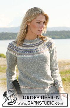 """108-10  DROPS tröja i """"Alpaca"""" med runt ok och flerfärgat mönster med luser. Långa eller korta ärmar. Stl XS - XXL ~ DROPS Design"""