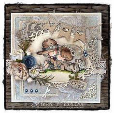 Photo: True Love by DT Fleur Pearson - Fleur coloured a LOTV image and added Kort & Godt Dusky Blue Rolled Roses, Mixed Dahlia - Barley Suga. Pretty Cards, Cute Cards, Kids Cards, Baby Cards, Tag Craft, Whimsy Stamps, Beautiful Handmade Cards, Shabby, Tampons