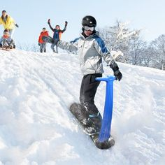 Move over sleds and make room for the Snow Scooter! Another fun way to go down a snow covered hill. The Snow Scooter has a snowboard type base with an easy Sledding Hill, Snow Sled, Snow Activities, Kids Skis, Sports Toys, Snowboards, Snow Skiing, Outdoor Play, Outdoor Toys