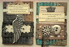 "Corrugated Cardboard, Tattered Angels Glimmer Mist, Folk Art Metallic Paint, Cheesecloth, Charms and quotes from ""Queen Of Your Own Life"" Peace, xoxo."