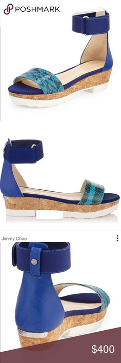 Jimmy Choo Wedges NWT Jimmy Choo flat cork wedges. Brand with with tags! Comes in original box with dust bags. Turquoise and violet snakeskin print.                        •n o  t r a d e s• •s m o k e  f r e e / p e t  f r e e  h o m e•   •s a m e / n e x t  d a y  s h i p p i n g• Jimmy Choo Shoes Wedges