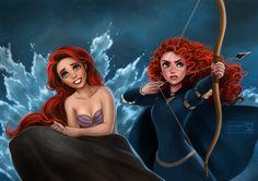 Ariel and Merida by daekazu on @DeviantArt