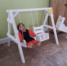 "Wooden Swings That Girl Doll Swing American Made for 18"" Dolls Amish Handcrafted Primitive Handmade Solid Wood Toy Play House Furniture WHT"