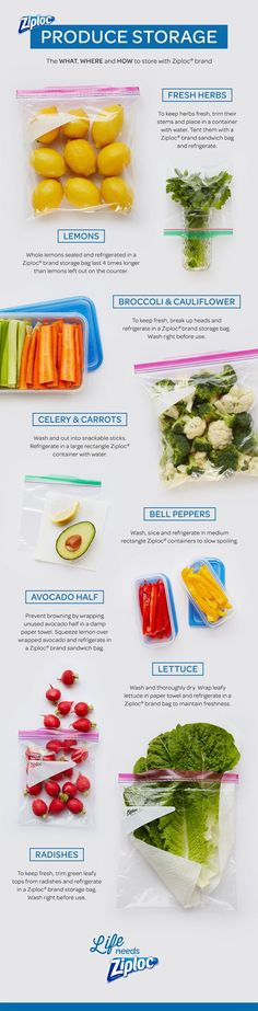 Long live produce! Learn how to make your fruits and veggies last longer with this printable guide to food storage. Even avocados and lettuce can stay fresh in the fridge if you know how to package them. Stop tossing food and start saving money.