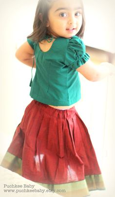"""Indian traditional lehenga """"pattu-pavadai"""" or skirt blouse for baby girl by…"""