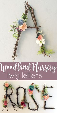 I love this idea to make letters or even the whole name out of twigs and flowers. Woodland is such a cute nursery theme! This would be so cute hanging over the crib or as part of a gallery wall in a baby girl or boy's room! #nurseryideas #nurserydecor #woodlandnursery #ad