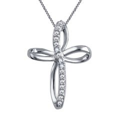 Shop for Divina White Silver Over Brass I-J Diamond Accent Cross Pendant. Get free delivery On EVERYTHING* Overstock - Your Online Jewelry Destination! Diamond Cross, Diamond Pendant Necklace, Cross Pendant, Natural Diamonds, White Gold, Chain, Silver, Brass, Jewelry