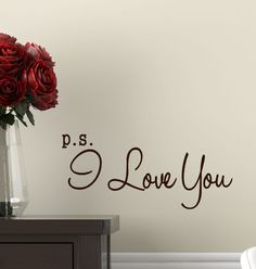 Valentine Decal ps I Love You Decal Bedroom Decor wall  Romantic quote P.S. words on Etsy, $17.00