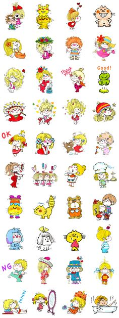 The second batch of stickers by Ado Mizumori! Drawing Cartoon Characters, Cartoon Drawings, Emoji Stickers, Kawaii, Snoopy And Woodstock, Children's Picture Books, Cute Icons, Line Sticker, Colorful Wallpaper