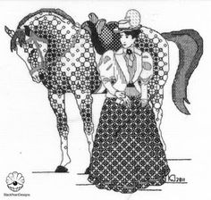 """The collection """"Ladies on horses"""" was created in It features 4 equestriennes in elegant retro clothes riding horses that are so t. Blackwork Cross Stitch, Blackwork Embroidery, Cross Stitch Embroidery, Cross Stitch Patterns, Hand Embroidery Designs, Embroidery Patterns, Blackwork Patterns, Tangle Patterns, Thread Art"""