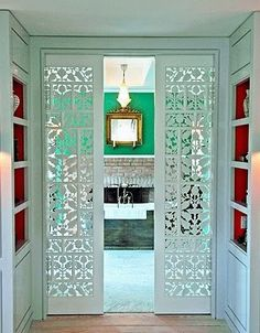 Pocket doors for a bathroom.love the lacy look to the doors Door Design, House Design, Design Design, Design Miami, Cafe Design, Design Elements, Design Ideas, Interior And Exterior, Interior Design