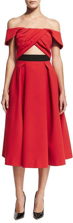 Self-Portrait Ayelette Cutout Double-Crepe Dress ($640)
