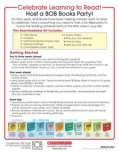 Here's all the info you need to host a great BOB Books event.   Download the full event kit on the BOB Books board. Bob Books, Helping Children, 40th Anniversary, Teaching Reading, Learn To Read, Book Design, Kids Learning, Chart, Activities