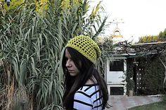 LanaDesign / Žltá háčkovaná čiapka