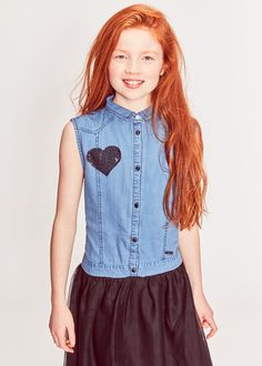 ff560833d42 Girls Blue Denim Jacket with Patches