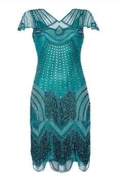 Party dress in teal great gatsby & flapper style dresses art deco & Flapper Style Dresses, Fringe Flapper Dress, 1920s Dress, Flapper Outfit, London Outfit, Trendy Fashion, Ladies Fashion, Women's Fashion, Fashion 1920s